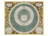 "Ptolemaic System, from ""The Celestial Atlas, or the Harmony of the Universe"" Premium Giclee Print by Andreas Cellarius"