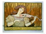 "Reproduction of a Poster Advertising ""Violin Lessons,"" Rue Denfert-Rochereau, Paris, 1898 Giclée-Druck von Paul Berthon"