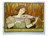 "Reproduction of a Poster Advertising ""Violin Lessons,"" Rue Denfert-Rochereau, Paris, 1898 Premium Giclee Print by Paul Berthon"