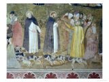 St. Dominic Sending Forth the Hounds and St. Peter Martyr Casting Down the Heretics Giclée-tryk af Andrea di Bonaiuto
