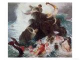 Mermaids at Play, 1886 Giclee Print by Arnold Bocklin