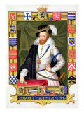 """Portrait of Robert Dudley Earl of Leicester, from """"Memoirs of the Court of Queen Elizabeth"""" Premium Giclee Print by Sarah Countess Of Essex"""