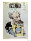 "Caricature of Jules Verne from ""L'Eclipse,"" 13th December 1874 Giclee Print by André Gill"