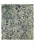 Wallpaper with Navy Blue Seaweed Style Design Giclee Print by William Morris