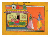 "Krishna Arriving at Radha's House, Illustration from a Manuscript of ""Rasamanjari"" of Bhanudatta Giclee Print"
