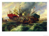 The Naval Battle of Lepanto Between the Holy League and the Turks in 1571 (Detail) Giclee Print by Antonio De Brugada