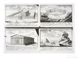 Views of Four Classical Buildings: the Temple of Olympian Zeus, the Theatre of Dionysus in Athens Giclee Print by Johann Bernhard Fischer Von Erlach