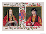 Double Portrait of Elizabeth of York and Henry VII Holding the White Rose of York Reproduction procédé giclée par Sarah Countess Of Essex