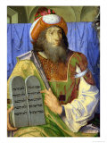 Moses with the Ten Commandments, from a Series of Portraits of Illustrious Men (Detail) Giclee Print by Joos van Gent