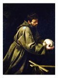 Saint Francis in Meditation Reproduction proc&#233;d&#233; gicl&#233;e par Caravaggio 