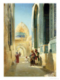 Figures in a Street Before a Mosque, 1895 Giclee Print by Richard Karlovich Zommer
