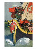 Viking Blowing the Horn on a Longship as it Approaches the Norse Coast Giclee Print by Louis Bombled