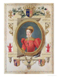 """Portrait of Mary Queen of Scots from """"Memoirs of the Court of Queen Elizabeth,"""" Published in 1825 Premium Giclee Print by Sarah Countess Of Essex"""