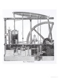 Steam Engine Designed by James Watt, by Bonnafoux Giclee Print