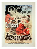 "Reproduction of a Poster Advertising an ""Ambassadors' Concert,"" Champs Elysees, Paris, 1884 Giclee Print by Jules Chéret"