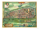 "Map of Bremen, from ""Civitates Orbis Terrarum"" by Georg Braun and Frans Hogenberg circa 1572-1617 Giclee Print by Joris Hoefnagel"