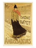 Reproduction of a Poster Advertising &quot;Eugenie Buffet,&quot; at the Ambassadeurs, Paris, 1893 Giclee Print by Lucien Metivet