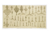 "Ornamental Knobs Shaped as Domes and Minarets, from ""Art and Industry"" Giclee Print by Jean Francois Albanis De Beaumont"