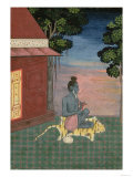 Aged Ascetic Seated on a Tiger Skin Outside a Building, from the Large Clive Album, circa 1670 Giclee Print