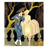 Harlequin's Kiss (W/C on Paper) Giclee Print by Georges Barbier