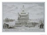 """Mausoleum of Halicarnassus, Bodrum, Turkey, from """"Entwurf Einer Historischen Architektur,"""" 1721 Premium Giclee Print by Johann Bernhard Fischer Von Erlach"""