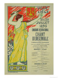 "Reproduction of a Poster Advertising the ""Concours International De Chant D'Ensemble"" Giclee Print by Auguste Donnay"