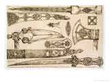 "Islamic and Moorish Designs for Knife Blades, from ""Art and Industry"" Giclee Print by Jean Francois Albanis De Beaumont"