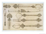 "Persian Design for Everyday Silver Cutlery, from ""Art and Industry"" Giclee Print by Jean Francois Albanis De Beaumont"