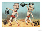 Goschen and Ritchie, the Champion Weight Lifters Giclee Print by Tom Merry
