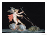 Cupid Being Led by Tortoises Giclee Print by Michelangelo Maestri