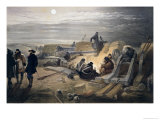 "A Quiet Night in the Batteries, Plate from ""The Seat of War in the East"" Giclee Print by William Simpson"