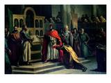 The Oath of Santa Gadea, El Cid Campeador (C.1043-99) Extracts Oath from Alfonso VI (C.1040-1109) Giclee Print by Marcos Hiraldez De Acosta