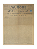 J'Accuse Letter by Emile Zola, Published in L'Aurore, 13th January 1898 Giclee Print