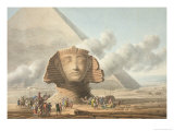 View of the Head of the Sphinx and the Pyramid of Khafre, circa 1790 Giclee Print by Louis-Francois Cassas