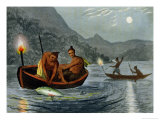 Torch Light Fishing in North America Giclee Print by John Heaviside Clark