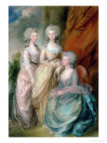 The Three Eldest Daughters of George III: Princesses Charlotte, Augusta and Elizabeth in 1784 Giclee Print by Thomas Gainsborough