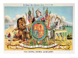 "The Royal Arms Jubilant, from ""St. Stephen's Review Presentation Cartoon,"" 25 June 1887 Giclee Print by Tom Merry"