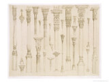 "Persian and Turkish Wooden Column Designs, from ""Art and Industry"" Giclee Print by Jean Francois Albanis De Beaumont"