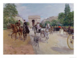 Riders and Carriages on the Avenue Du Bois, circa 1900 Giclee Print by Georges Stein