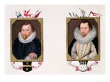 Double Portrait of Sir Francis Drake and Sir Martin Frobisher Reproduction procédé giclée par Sarah Countess Of Essex