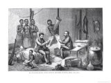 Dr. David Livingstone and Mr. Henry Morton Stanley Receiving Newspapers in Central Africa Giclee Print by Johann Baptist Zwecker