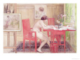 Model Writing Postcards, 1906 Premium Giclee Print by Carl Larsson