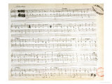 "Facsimile of the Score of ""Ballade Number 2 in F"" Giclee Print by Frederic Chopin"