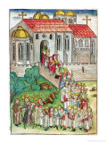 Pilgrim of Santiago De Compostela and Procession, 1491 Reproduction procédé giclée par Michael Wolgemut Or Wolgemuth