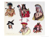 Portraits of Six American Indians from the Sioux, Renard, Pawnee, Creek, Otto and Chippewa Tribes Giclee Print by Baron Dudevant Jean Francois Maurice Sand