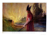 As the Flames Rise, Odin Leaves, 1909 Giclee Print by Hermann Hendrich