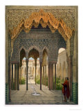 The Court of the Lions, the Alhambra, Granada, 1853 Reproduction procédé giclée par Leon Auguste Asselineau