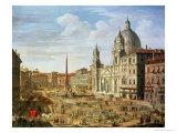 Piazza Navona, Rome, Looking South Towards Palazzo Pamphilj and Palazzo Massimo Lancellotti Giclee Print by Salvatore Colonelli Sciarra