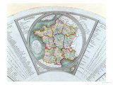 Fan Depicting the Map of France as Divided into 9 Regions, 10 Metropolis and 83 Departments, 1790 Giclee Print