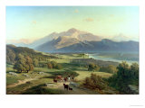 Drover on Horseback with His Cattle in a Mountainous Landscape with Schloss Anif, Salzburg Giclee Print by Josef Mayburger